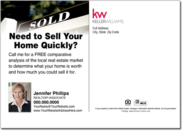 Real Estate Postcard, Keller Williams Postcards