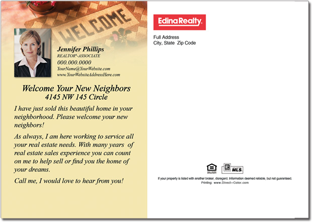 Real Estate Postcards, Welcome Neighbors Postcards