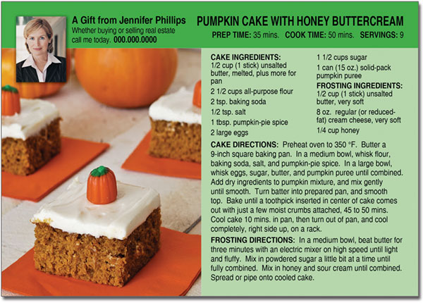 Halloween Cake Recipe Postcard