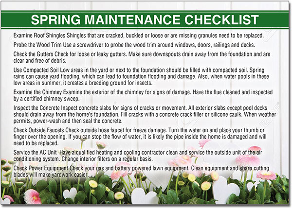 Spring Maintenance Postcards
