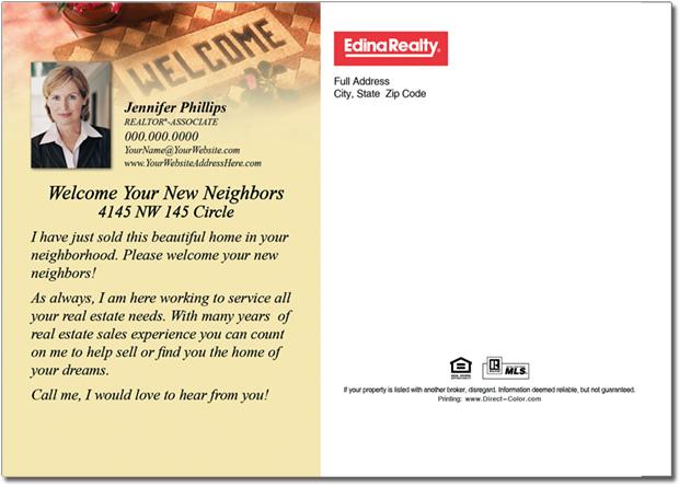 Real Estate Postcards, Welcome Neighbors Postcards