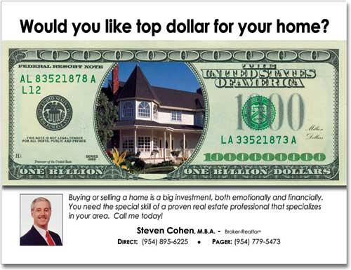 Real Estate Money Postcards, Marketing Postcard, Advertising Post card, Custom Post cards