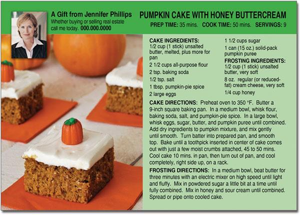 Halloween Cake Recipe Postcard