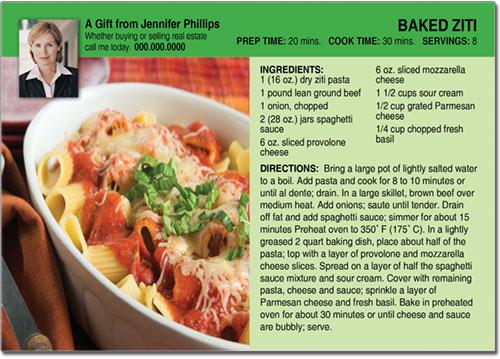 Pasta Recipe Postcards