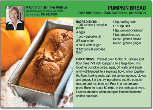 Pumpkin Bread Recipe Postcard