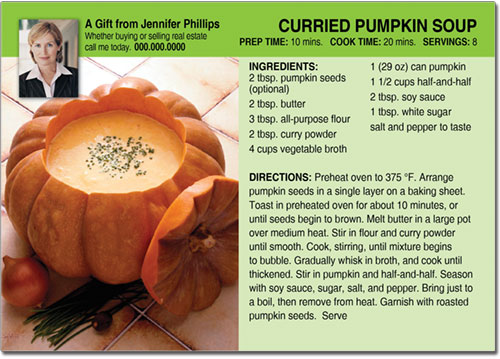 Pumpkin Soup Recipe Postcards