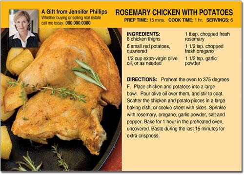Real Estate Chicken Recipe Postcards