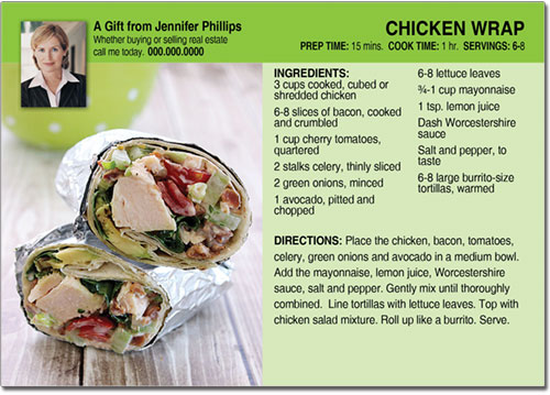 Realtor Chicken Wrap Recipe Postcards